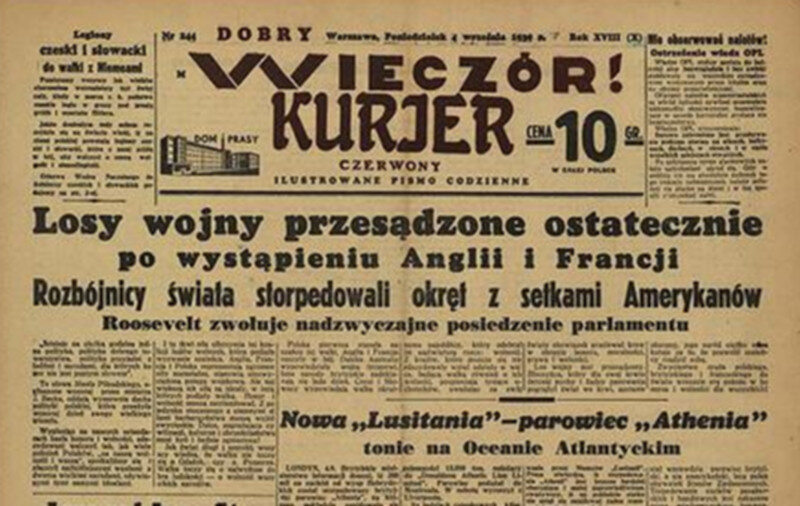 """""""Dobry Wieczór! Kurjer Czerwony"""", 4 września Warszawska redakcja przekonywała, że losy wojny są już przesądzone i Niemcy zostaną wkrótce pokonane."""