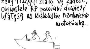 Wałęsa motorówką na Krakowskie Przedmieście